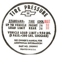 1967 Camaro Tire Pressure Decal  SS 350  GM# 3909997