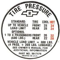 1967 Camaro Tire Pressure Decal  SS 396  GM# 3971576