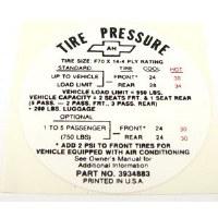 1968 Camaro Tire Pressure Decal  Super Sport SS  GM# 3934883