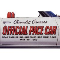 1969 Camaro Indy 500 Offical Pace Car Door Decals  Pair