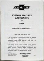 1967 Camaro Custom Features Accessories & Price Schedule Brochure