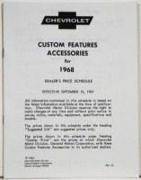 1968 Camaro Custom Features Accessories & Price Schedule Brochure
