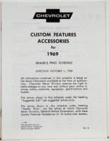 1969 Camaro Custom Features Accessories & Price Schedule Brochure