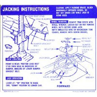 1967 Camaro Convertible Space Saver Tire Jacking Instructions Decal GM# 3919193