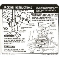 1967 Camaro Coupe Space Saver Tire Jacking Instructions Decal  GM# 3919192
