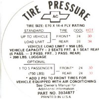 1968 Camaro Tire Pressure Decal  Coupe Super Sport  GM# 3934877