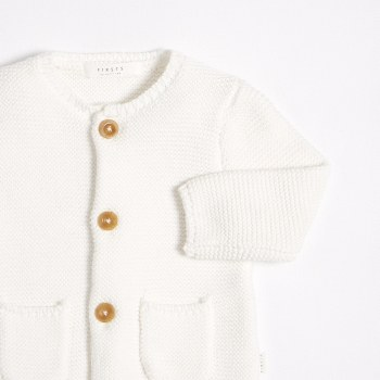 Baby Knit Cardigan White 6-9m