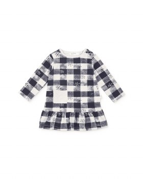 Knit Dress Blue Check 7