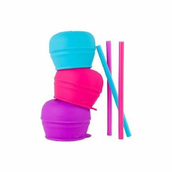 Snug Straw Lids Pink Multi