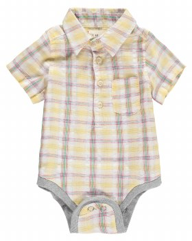 Yellow Plaid Woven Onsie 18-24m