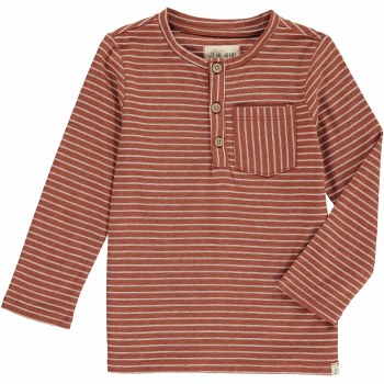 Brown Stripe Henley Tee 5-6y
