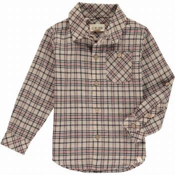 Beige Plaid Shirt 2-3y