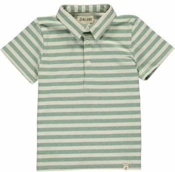 Green/Cream Stripe Polo 2-3y