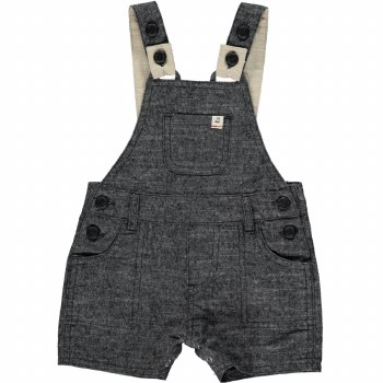 Black Woven Dungarees 12-18m