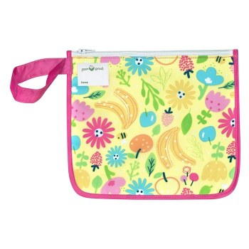 Insulated Snack Bag Pink Bee Flowers
