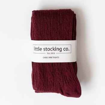 Cable Knit Tights Wine 3-4y