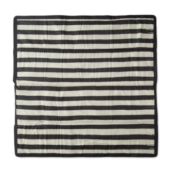 Outdoor Blanket 5x5 Black and White Stripe