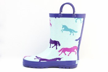 Rain Boots Purple Unicorns 2Y
