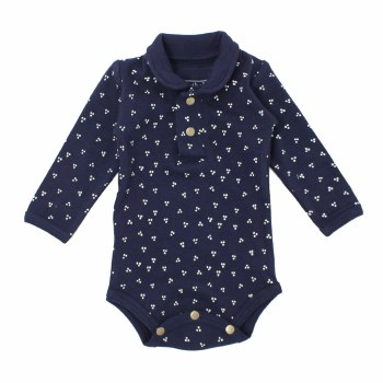 Polo Bodysuit Navy Dots 9-12m