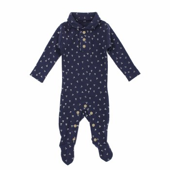 Polo Overall Navy Dots 12-18m