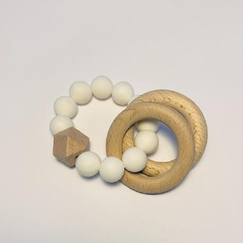 Double Ring Teether White