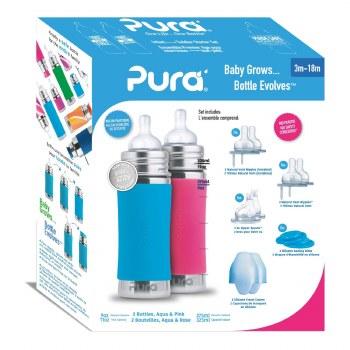 11oz Bottle Gift Set Pink/Aqua