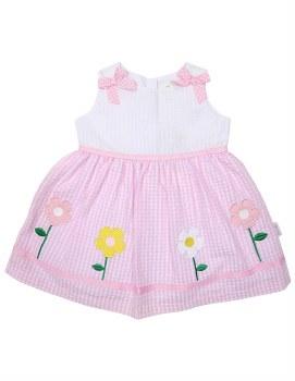 Flower Seersucker Dress 6-12m