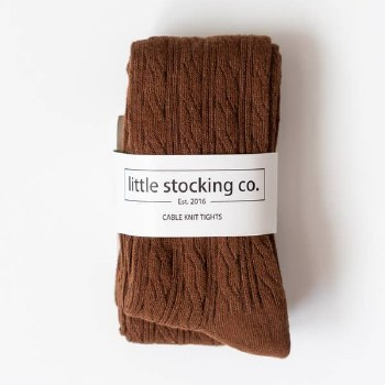 Cable Knit Tights Chocolate 1-