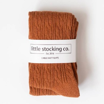 Cable Knit Tights Almond 3-4y