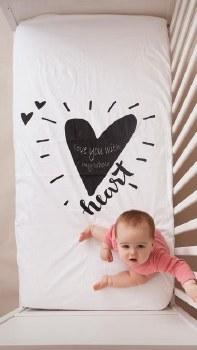 Waterproof Crib Sheet Heart