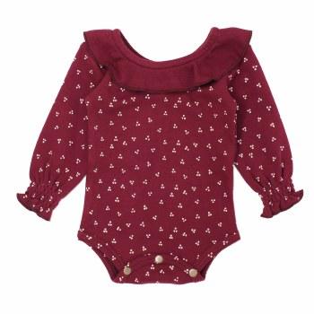 Ruffle Bodysuit Cranberry 0-3m