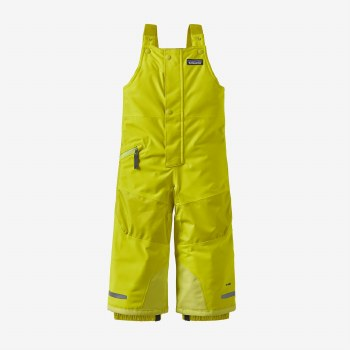 Baby Snow Pile Bibs Chartreuse 3T