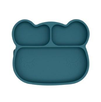 Bear Stickie Plate Blue Dusk