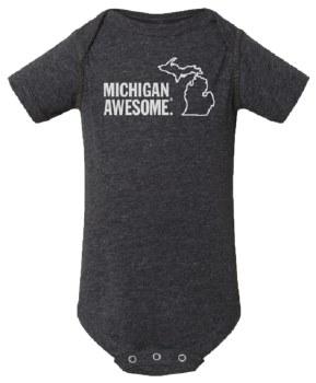 Michigan Awesome Dk Grey 6-12m