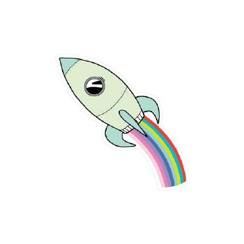 Rainbow Rocket Vinyl Sticker