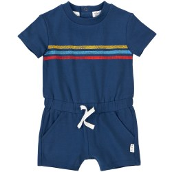 Knit Romper Blue Retro 12m