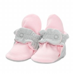 Cotton Booties Grey/Pink 3m