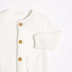 Baby Knit Cardigan White NB-3m
