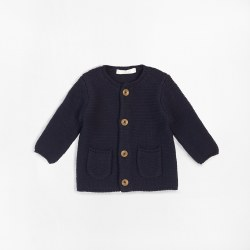 Baby Knit Cardigan Navy Nb-3m