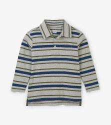 Polo Tee Grey Stripe 8
