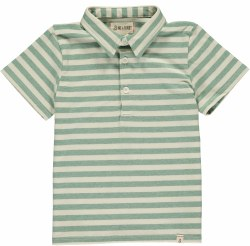 Green/Cream Stripe Polo 2-3y