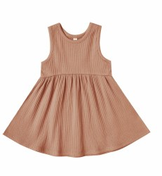 Ribbed Tank Dress Terracotta 6-12m