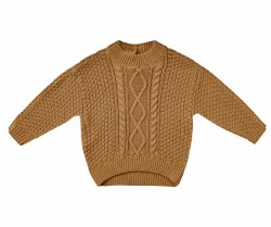 Cable Knit Sweater Walnut 2-3Y
