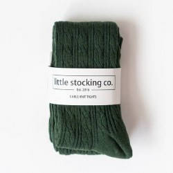 Cable Knit Tights Forest 6-12m