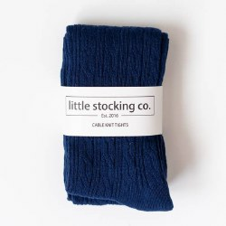 Cable Knit Tights Navy 6-12m