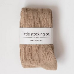 Cable Knit Tights Oat 6-12m