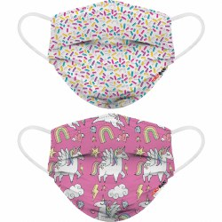 Disposable Kids Face Masks Sprinkles and Unicorns