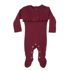 Smocked Overall Cranberry 18-24m