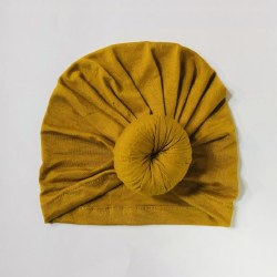 Baby Top Knot Hat Mustard