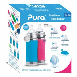 11oz Bottle Gift Set Pink/Aqua
